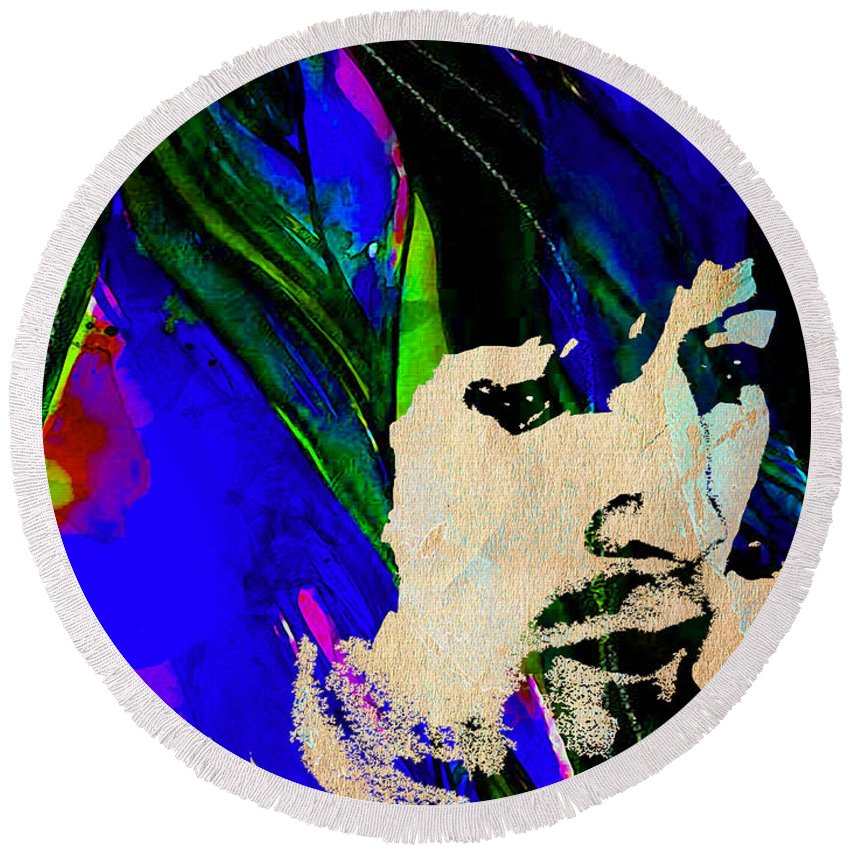 Eric Clapton Round Beach Towel featuring the mixed media Eric Clapton Collection by Marvin Blaine
