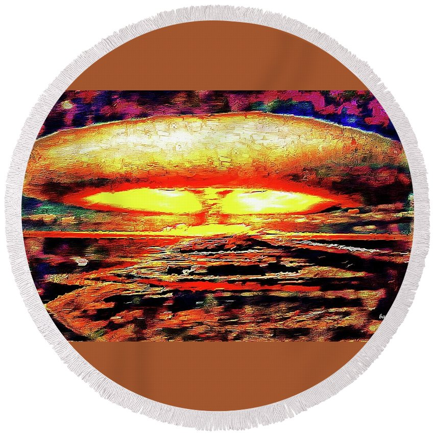 Remarkable Round Beach Towel featuring the painting 57 Megatons by Don Barrett