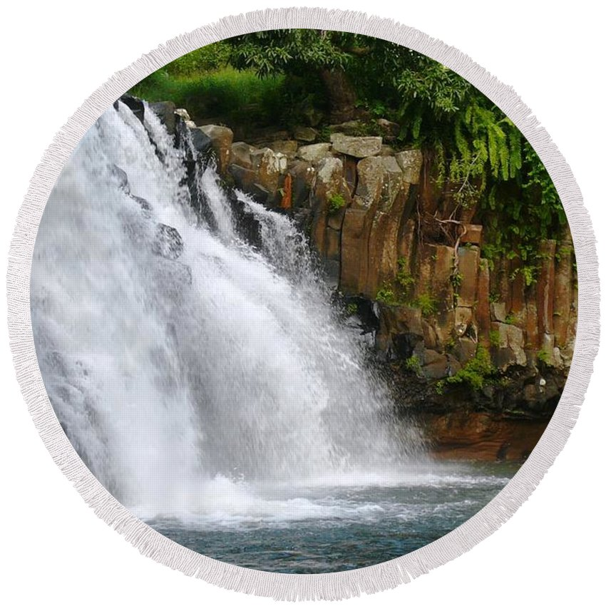 Water Round Beach Towel featuring the photograph Waterfall by FL collection