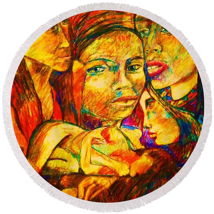 Woman Faces Round Beach Towel featuring the painting Janas by B Janas