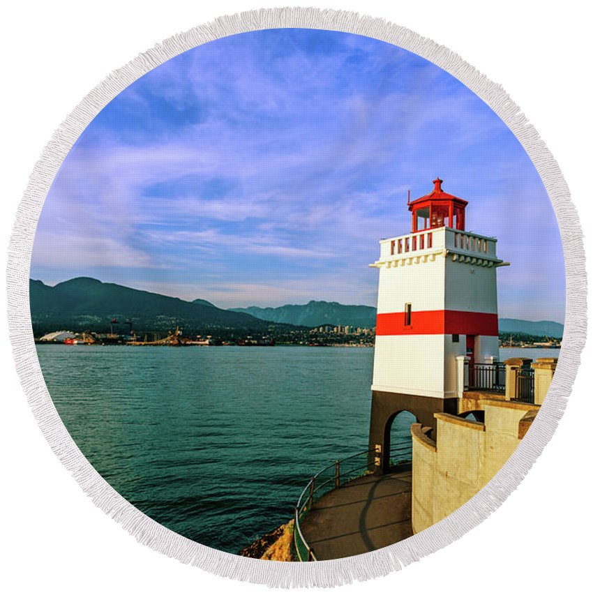 Lighthouse Round Beach Towel featuring the photograph Brockton Point Lighthouse 2 by Viktor Birkus