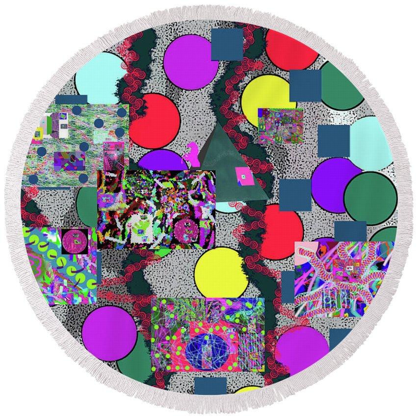 Walter Paul Bebirian Round Beach Towel featuring the digital art 6-10-2015abc by Walter Paul Bebirian