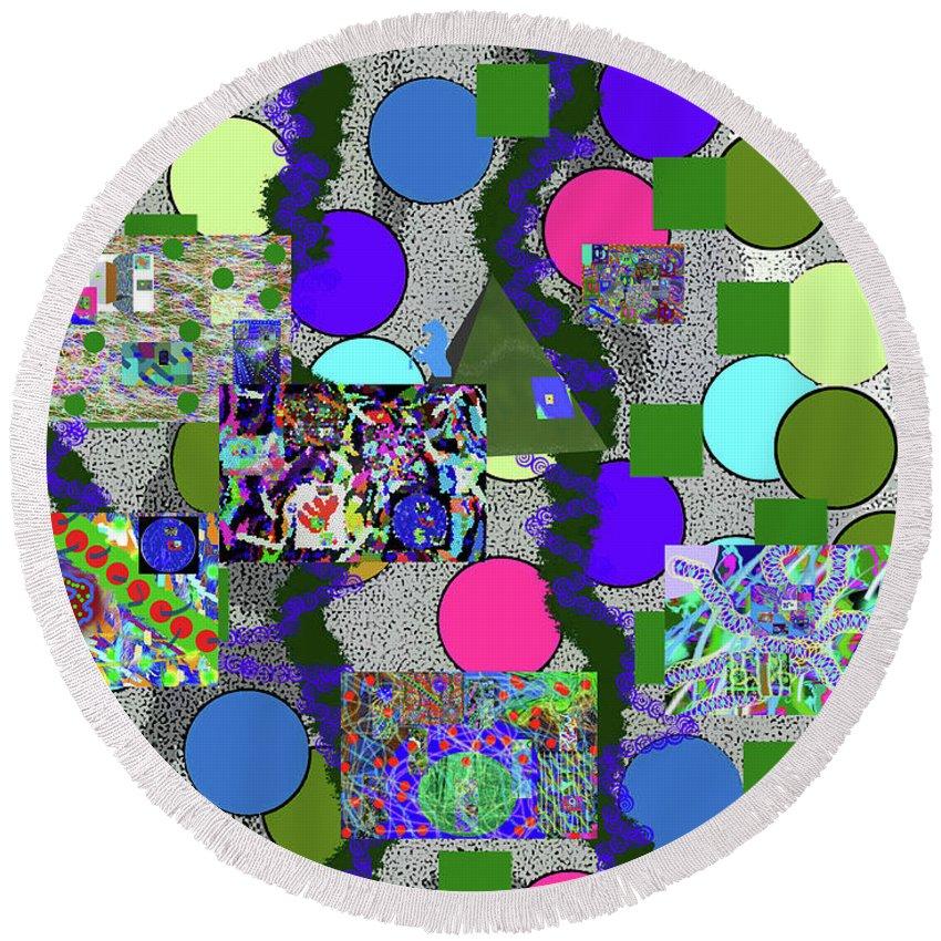 Walter Paul Bebirian Round Beach Towel featuring the digital art 6-10-2015abcdefghijkl by Walter Paul Bebirian