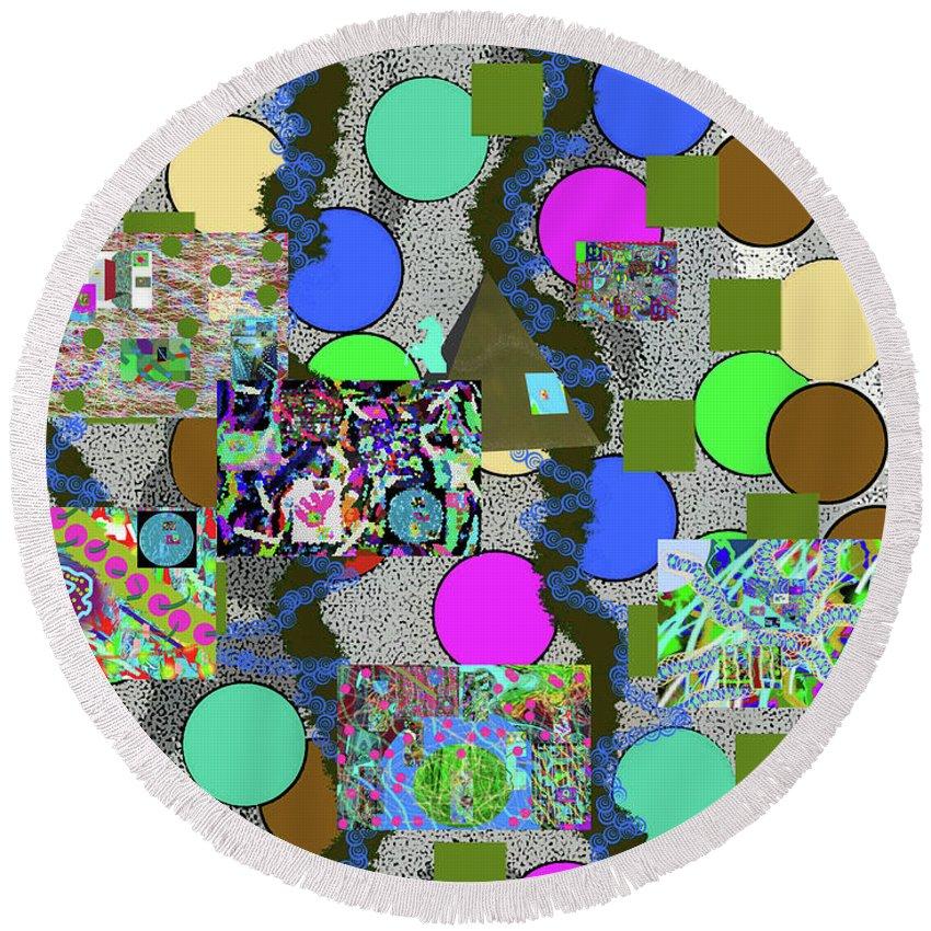 Walter Paul Bebirian Round Beach Towel featuring the digital art 6-10-2015abcdefghijklmnop by Walter Paul Bebirian