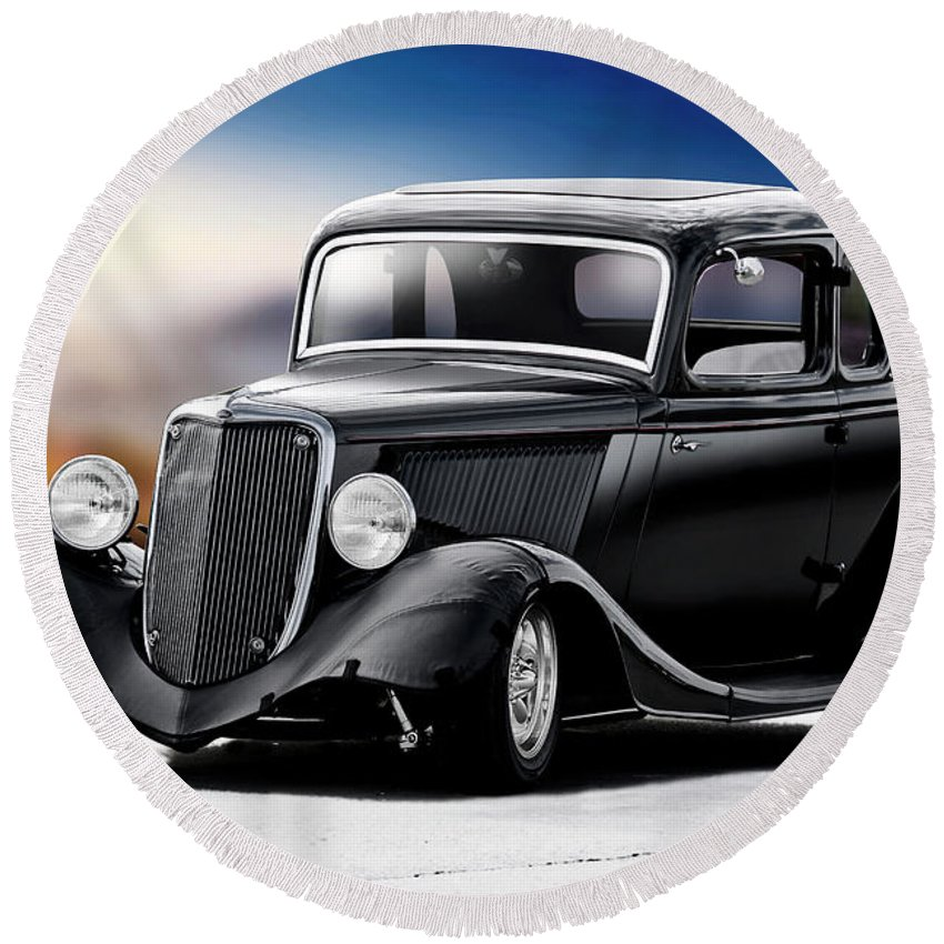 Auto Round Beach Towel featuring the photograph 1934 Ford Five-window Coupe by Dave Koontz