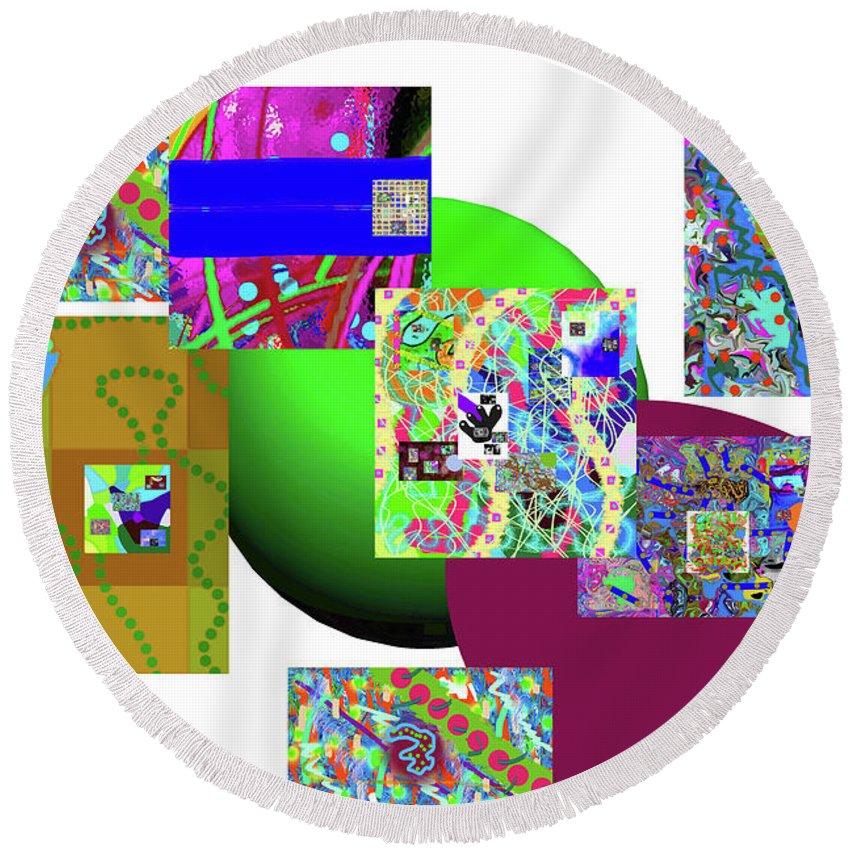 Walter Paul Bebirian Round Beach Towel featuring the digital art 6-20-2015gabcdefghijk by Walter Paul Bebirian