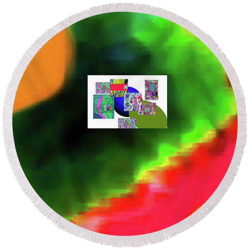 Walter Paul Bebirian Round Beach Towel featuring the digital art 6-20-2015h by Walter Paul Bebirian