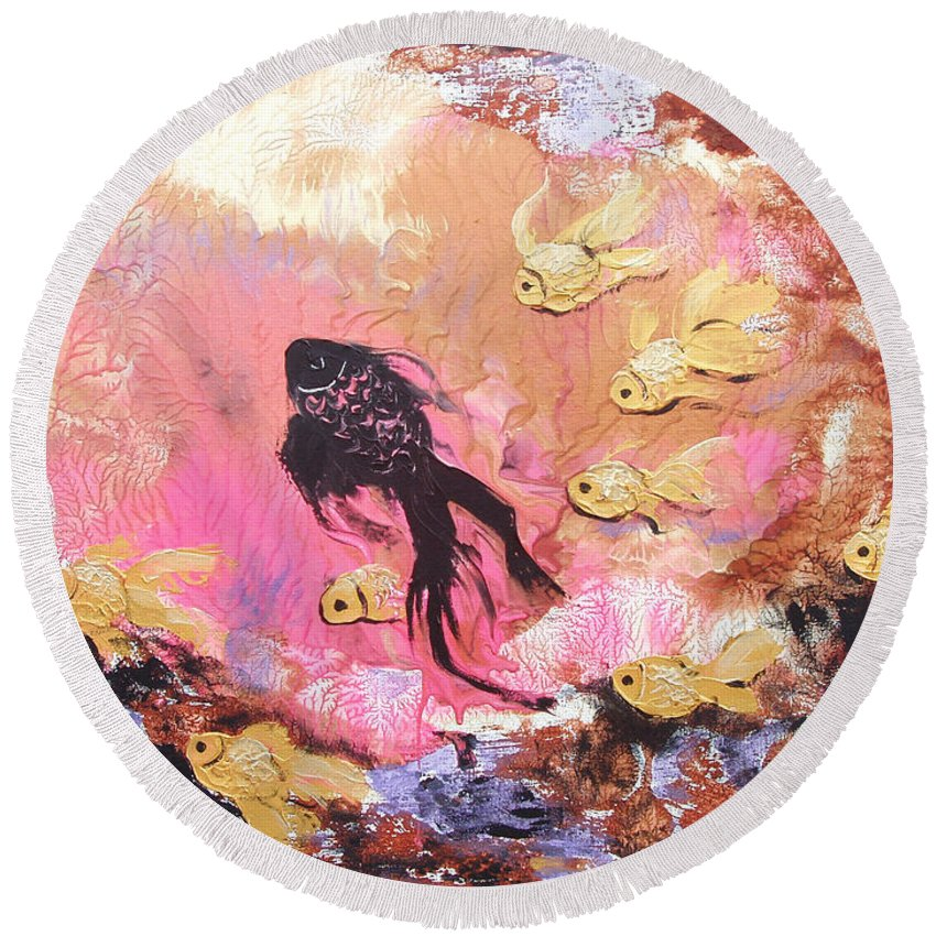 Fish Round Beach Towel featuring the painting 8 Gold Fish by Gina De Gorna