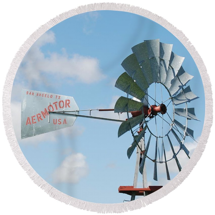 Blue Round Beach Towel featuring the photograph Aermotor Windmill by Rob Hans