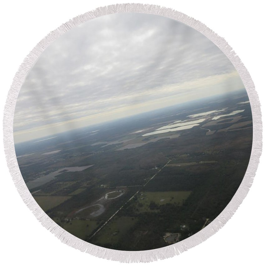 An Round Beach Towel featuring the photograph An Aerial View Of Fort Myers by Frederick Holiday