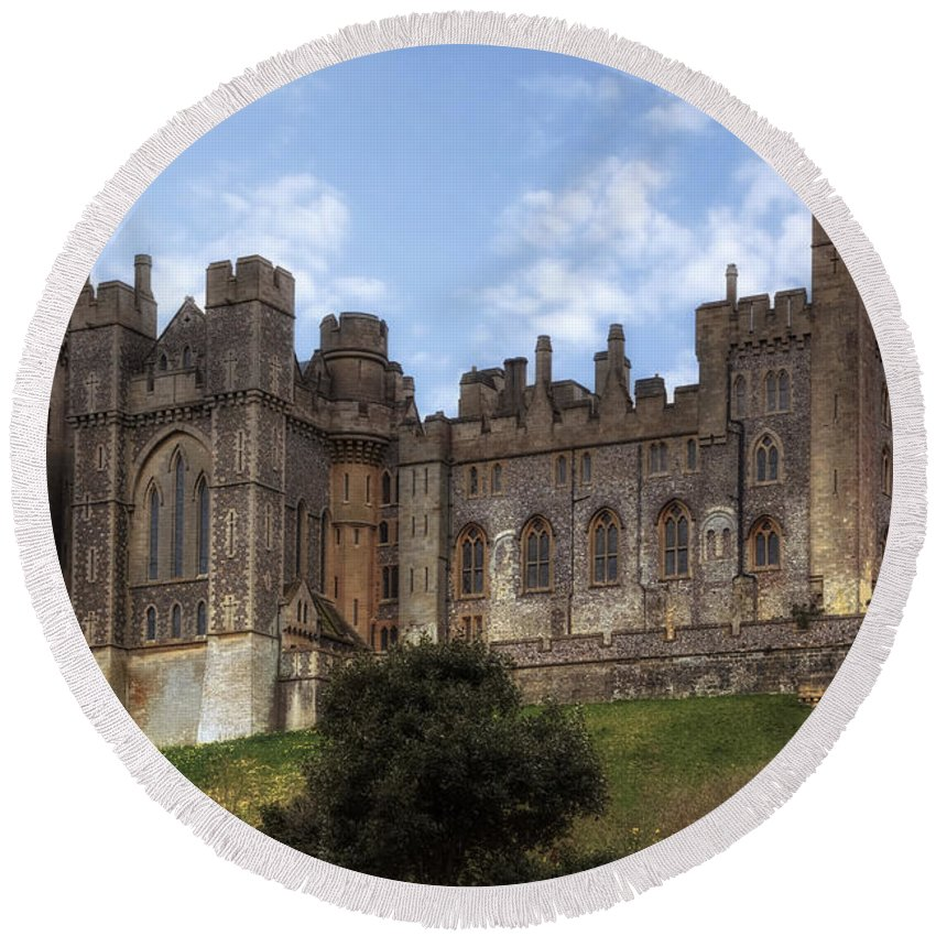 Arundel Castle Round Beach Towel featuring the photograph Arundel Castle by Joana Kruse