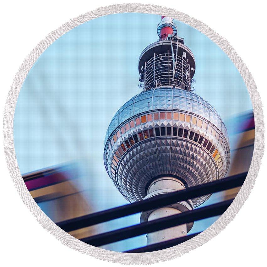 Berlin Round Beach Towel featuring the photograph Berlin Tv Tower by Alexander Voss