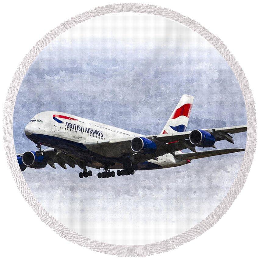 British Airways Oil Round Beach Towel featuring the photograph British Airways Airbus A380 Art by David Pyatt