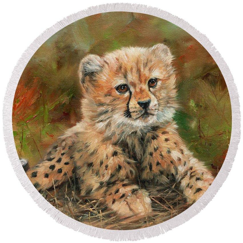 Cheetah Round Beach Towel featuring the painting Cheetah Cub by David Stribbling