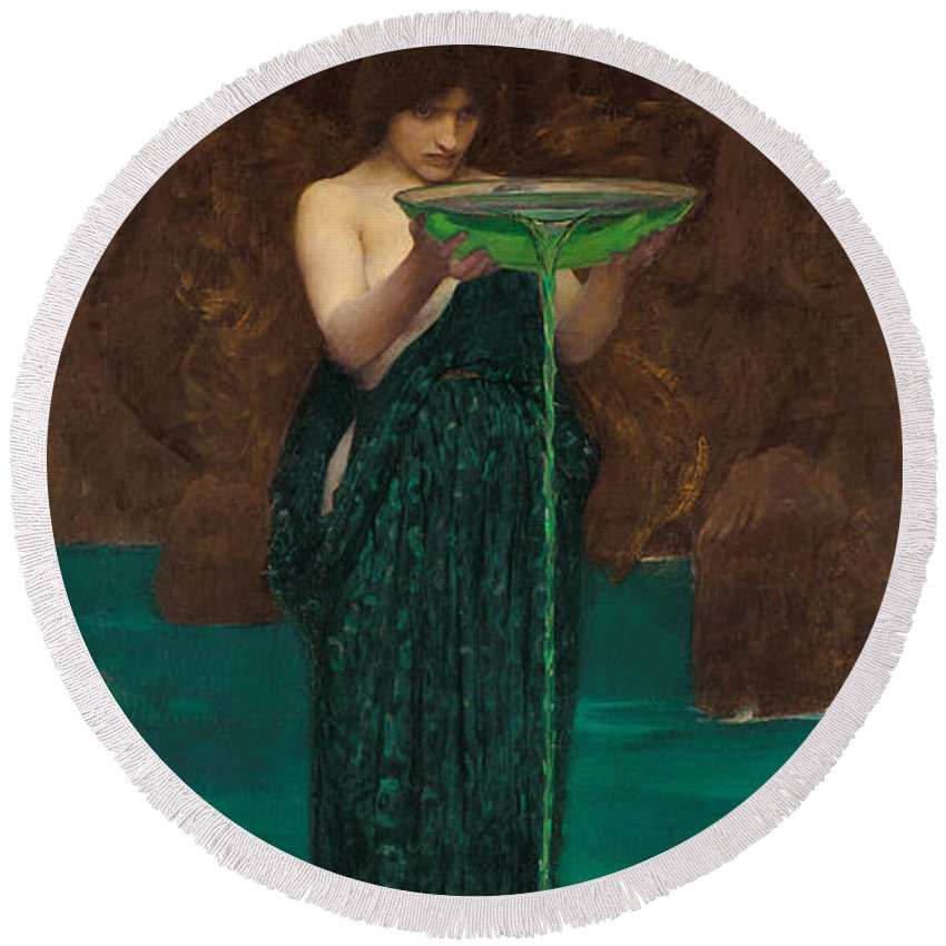 Pre-raphaelite Round Beach Towel featuring the painting Circe Invidiosa by John William Waterhouse