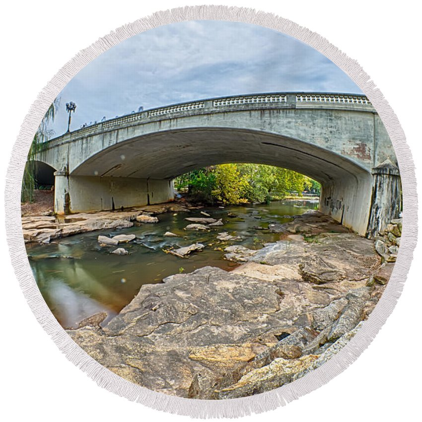 Downtown Round Beach Towel featuring the photograph Downtown Of Greenville South Carolina Around Falls Park by Alex Grichenko