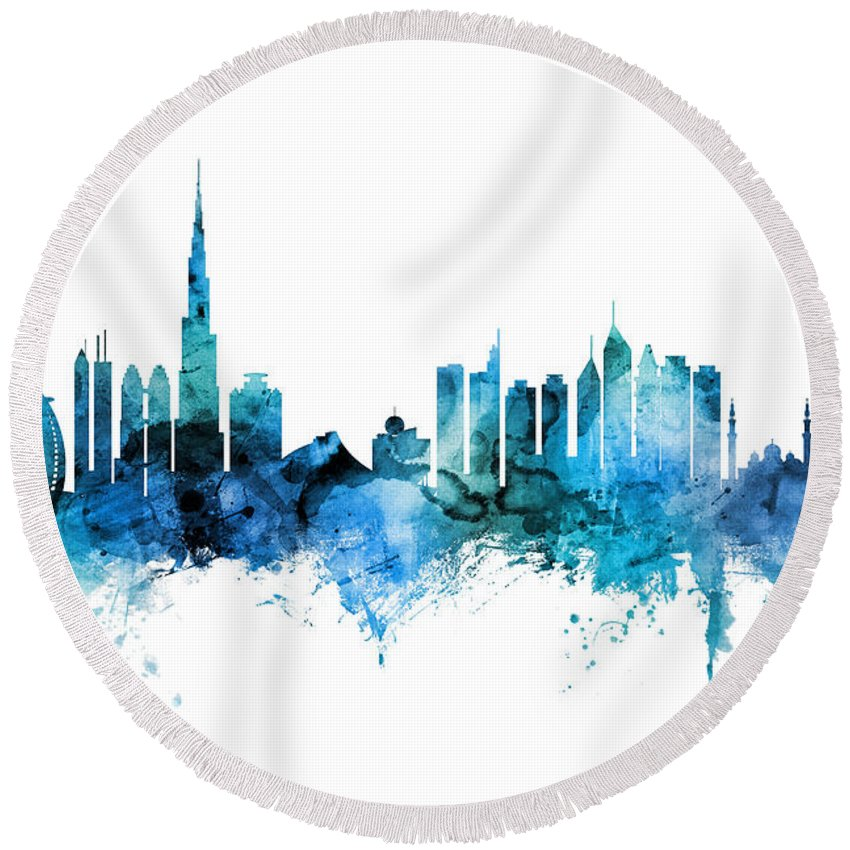 Dubai Skyline Round Beach Towels