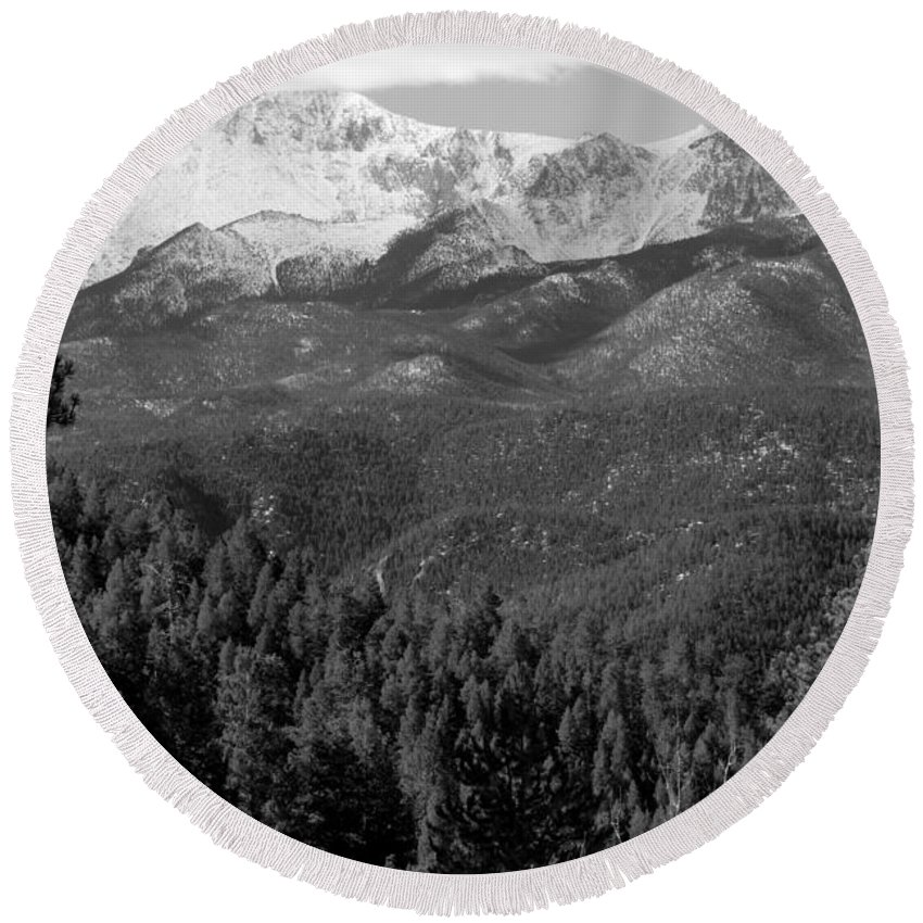 Nature Round Beach Towel featuring the photograph Fresh Snow On Pikes Peak by Steve Krull