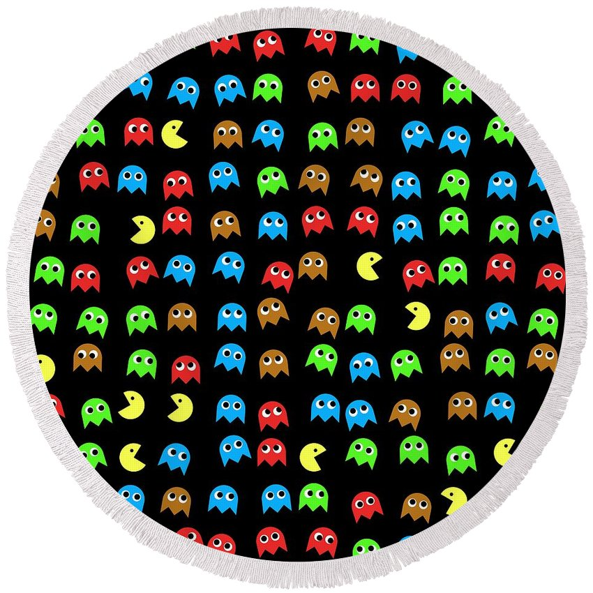 Monsters Round Beach Towel featuring the digital art Game Monsters Seamless Generated Pattern by Miroslav Nemecek