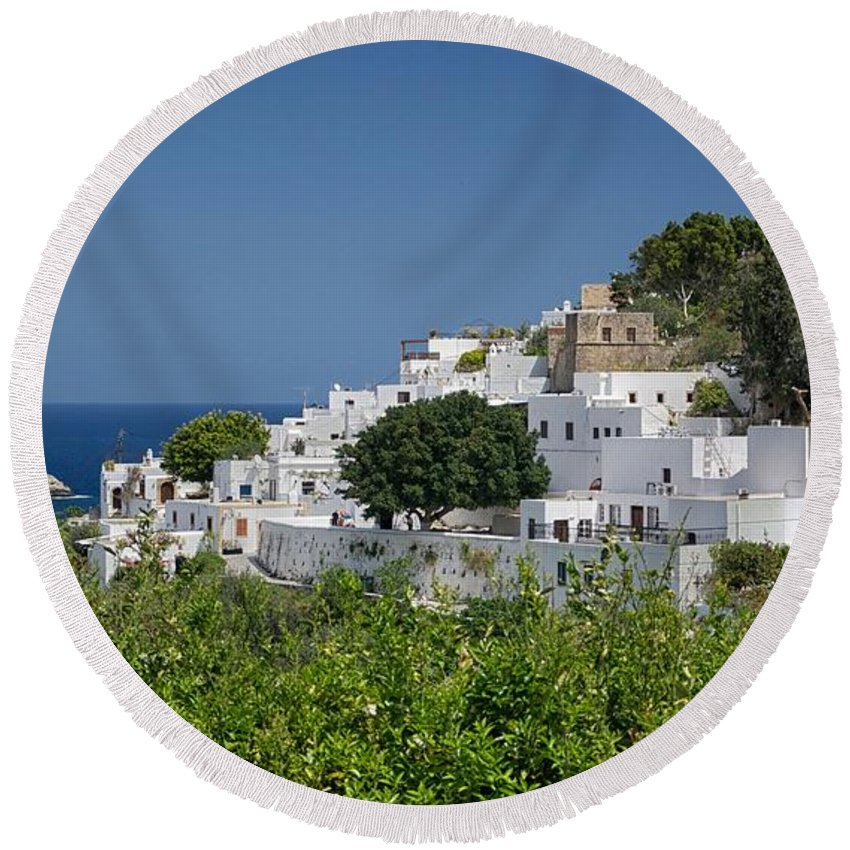 Beach Round Beach Towel featuring the photograph Greece by FL collection