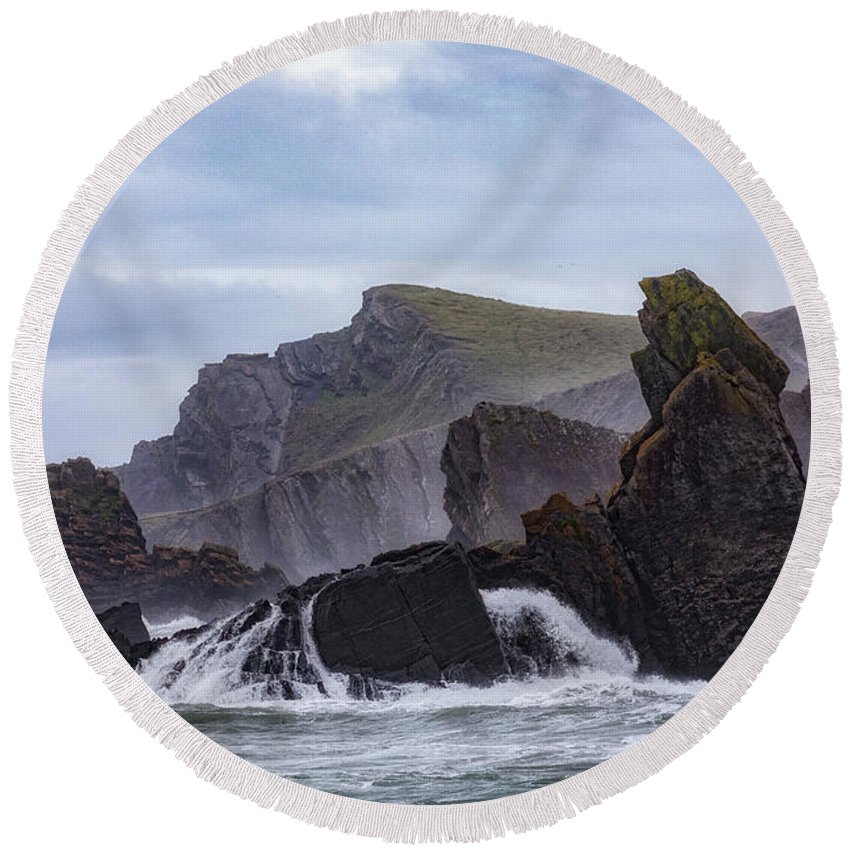 Hartland Quay Round Beach Towel featuring the photograph Hartland Quay - England by Joana Kruse