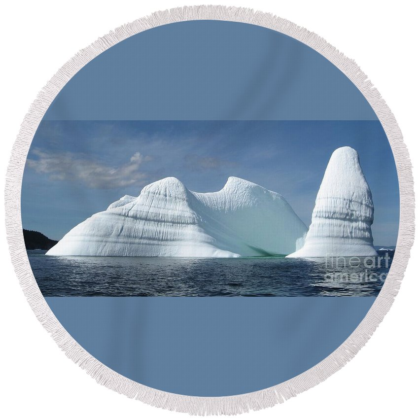 Iceberg Photograph Ice Water Ocean Sea Atlantic Summer Newfoundland Round Beach Towel featuring the photograph Iceberg by Seon-Jeong Kim