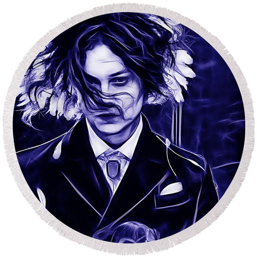 Jack White Round Beach Towel featuring the mixed media Jack White Collection by Marvin Blaine