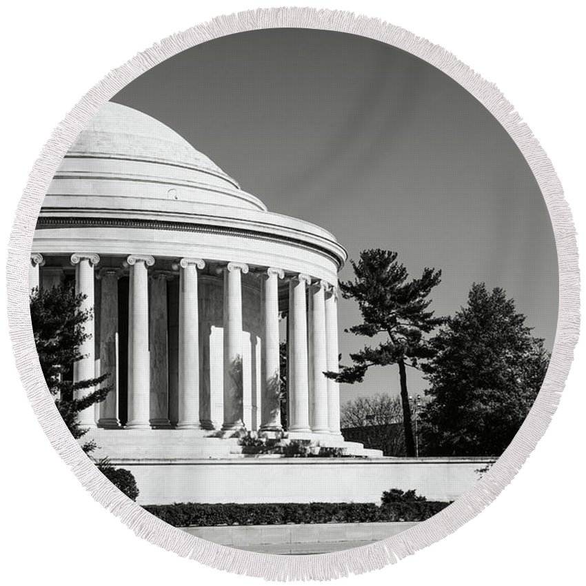 Stone Round Beach Towel featuring the photograph Jefferson Memorial In Washington Dc by Brandon Bourdages