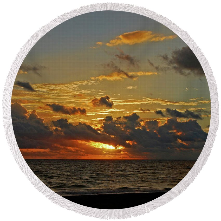 Sunrise Round Beach Towel featuring the photograph 6- Juno Beach by Joseph Keane