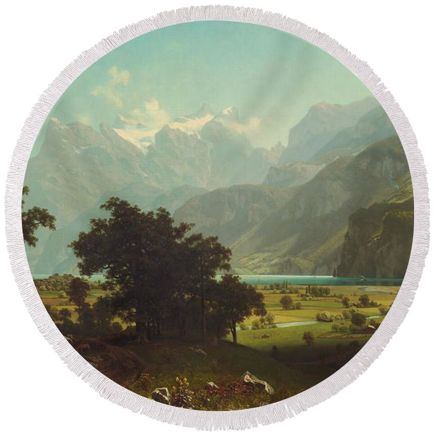 Painting Round Beach Towel featuring the painting Lake Lucerne by Mountain Dreams