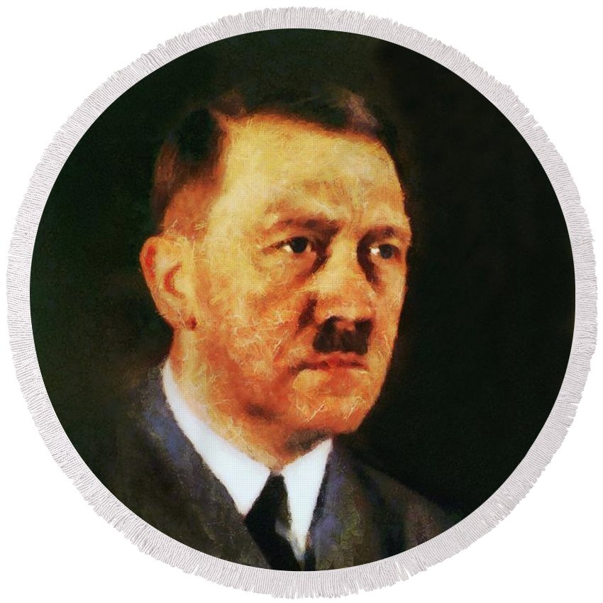 Adolf Round Beach Towel featuring the painting Leaders Of Wwii, Adolf Hitler by John Springfield
