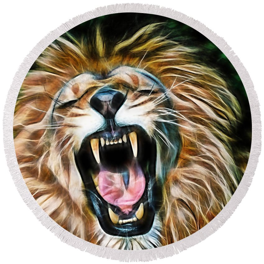 Lion Round Beach Towel featuring the mixed media Lion by Marvin Blaine