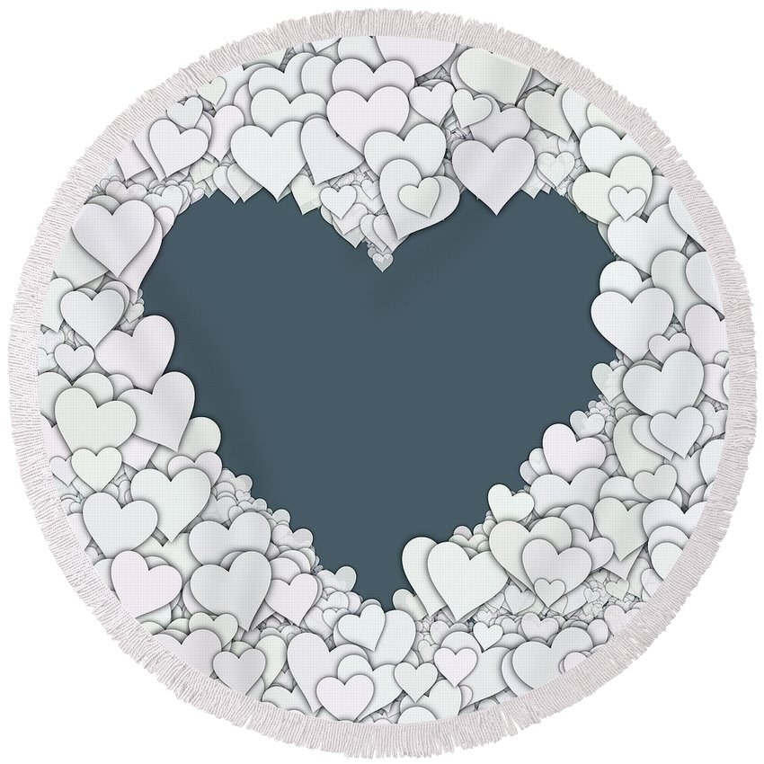 Heart Round Beach Towel featuring the digital art Love Heart Valentine Shape by Miroslav Nemecek