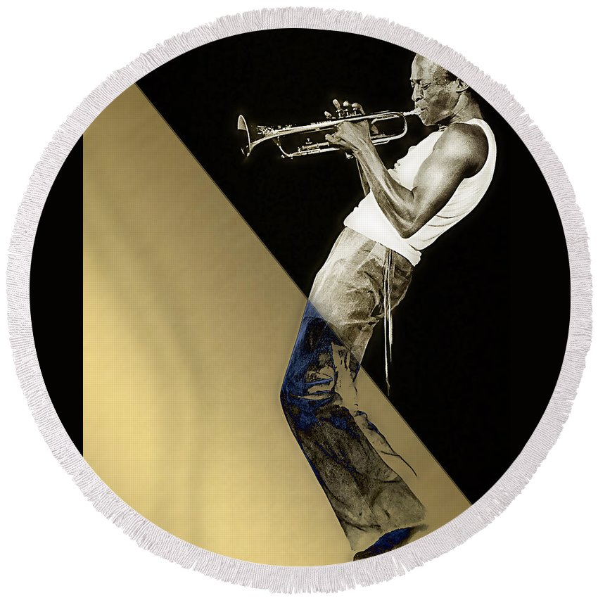 Miles Davis Round Beach Towel featuring the mixed media Miles Davis Collection by Marvin Blaine