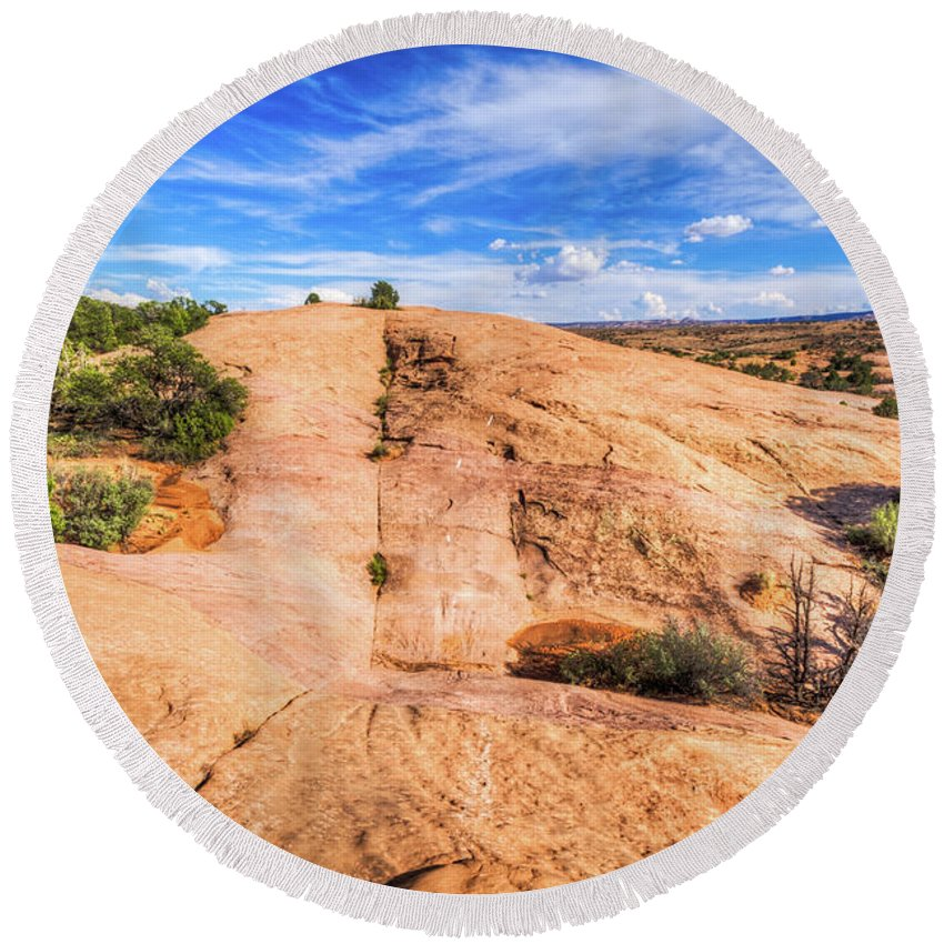 Landscape Round Beach Towel featuring the photograph Moab by Brett Engle