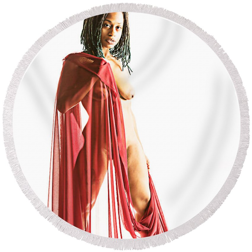 African Round Beach Towel featuring the photograph Neemah African American Nude Girl Photograph In Sexy Sensual Col by Kendree Miller