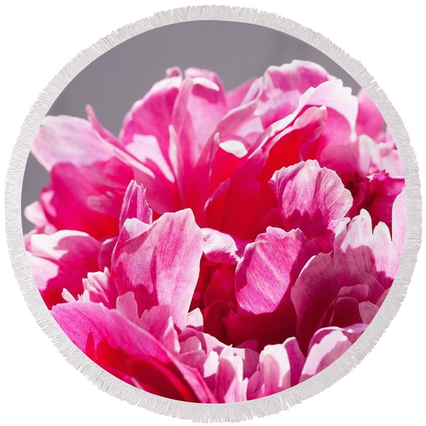 Flower Round Beach Towel featuring the photograph Peony Flower by FL collection