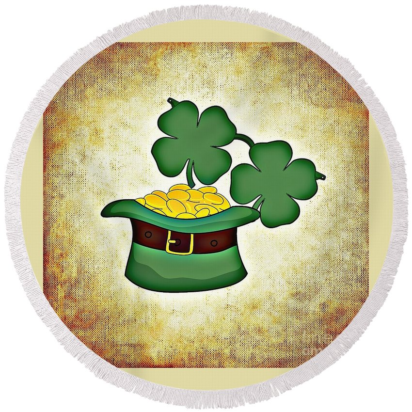 Witchcraft Round Beach Towel featuring the digital art St. Patrick's Day by Frederick Holiday