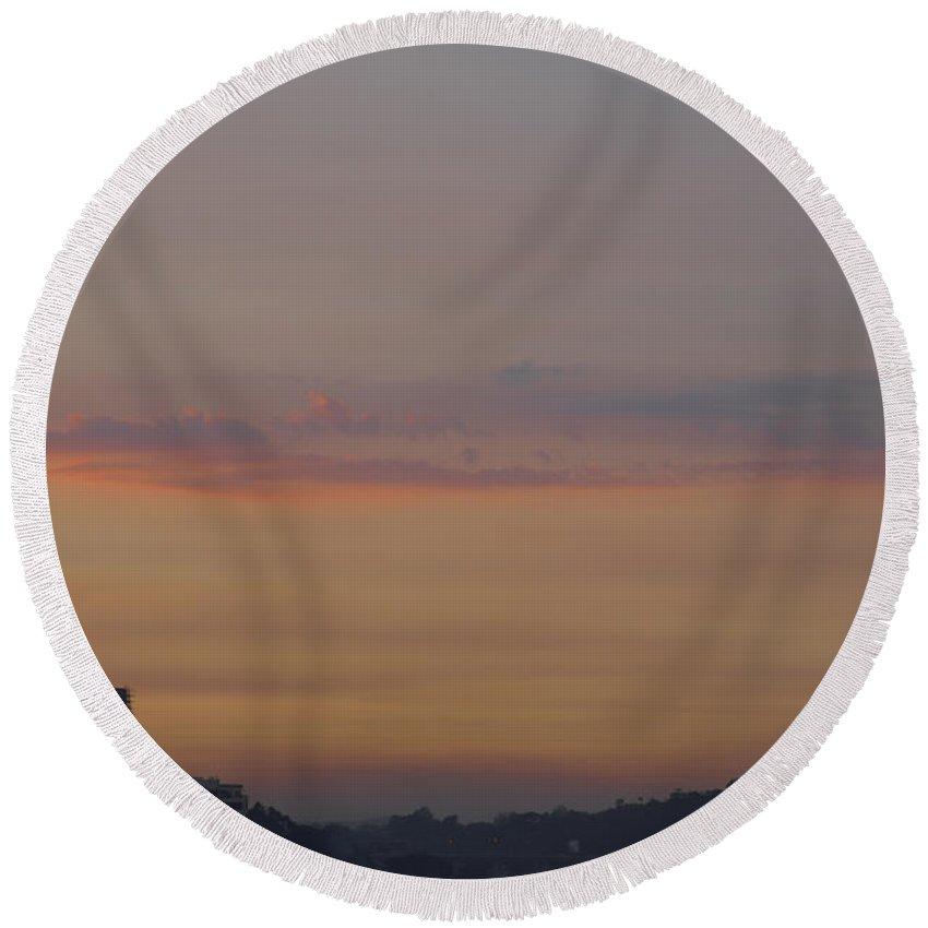 Skyline Of Pune Round Beach Towel featuring the photograph Sunset by Kiran Joshi