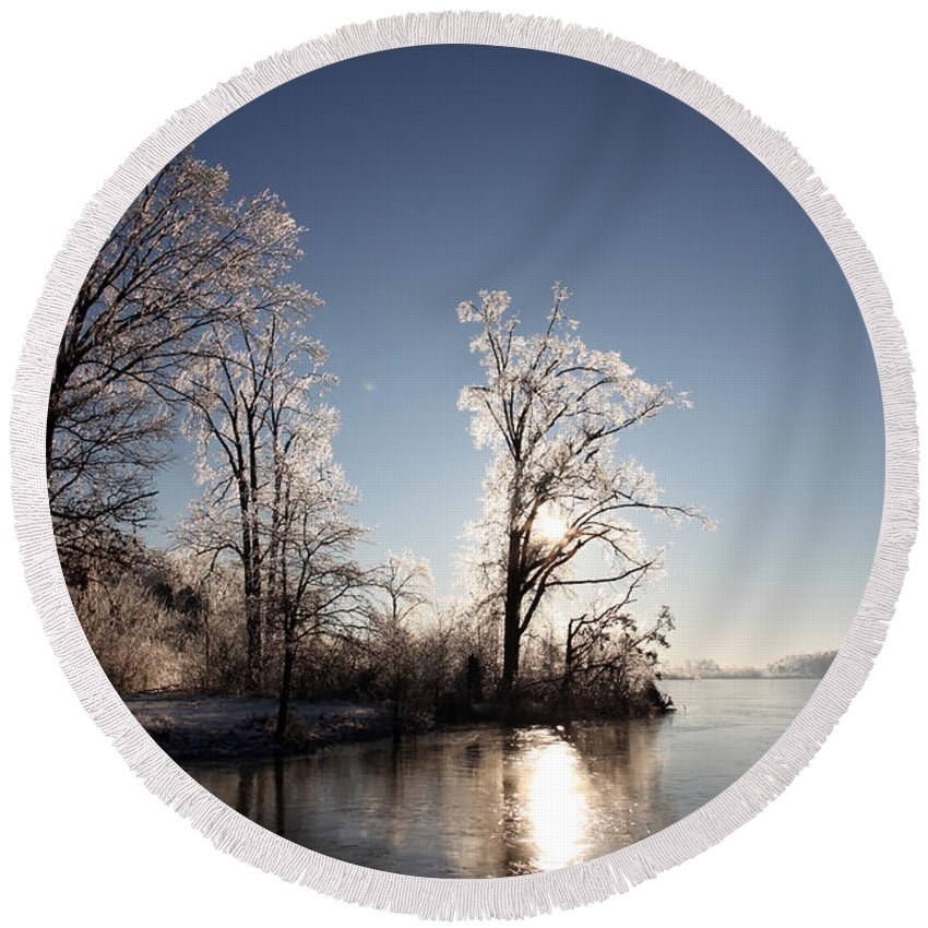 Tree Round Beach Towel featuring the photograph Trees In Ice Series by Amanda Barcon