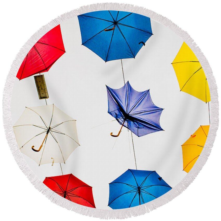 Antalya Round Beach Towel featuring the photograph Umbrellas by Tom Gowanlock