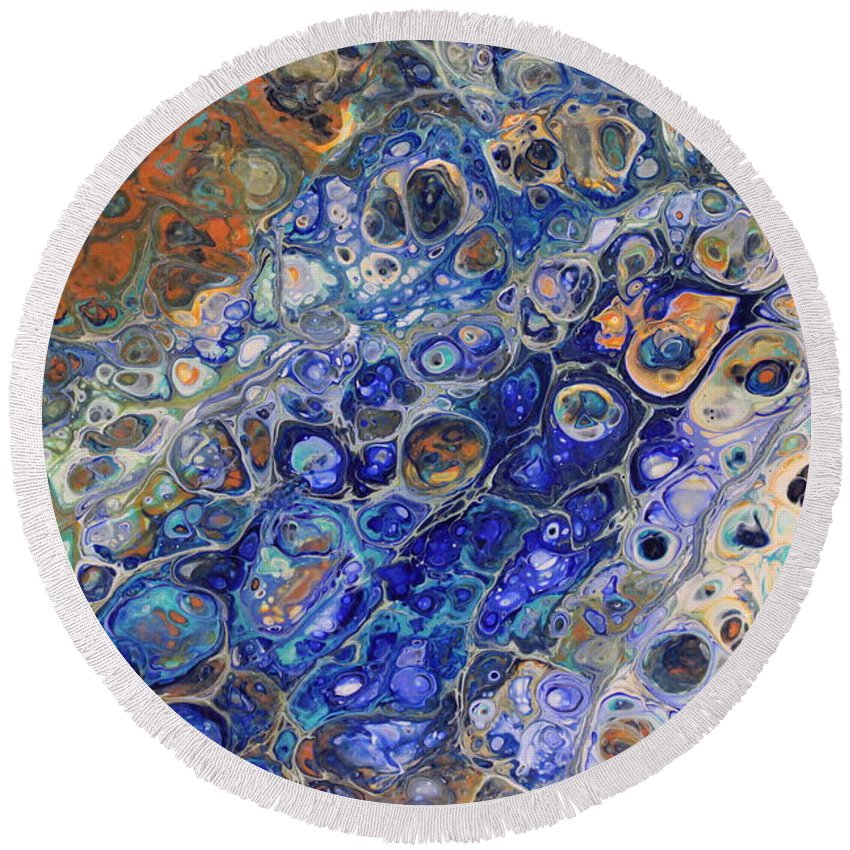 Round Beach Towel featuring the painting Untitled by Shannon Fomby
