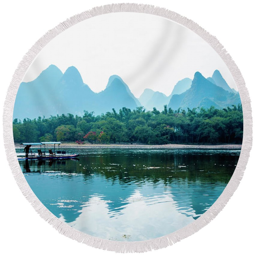 River Round Beach Towel featuring the photograph Lijiang River And Karst Mountains Scenery by Carl Ning