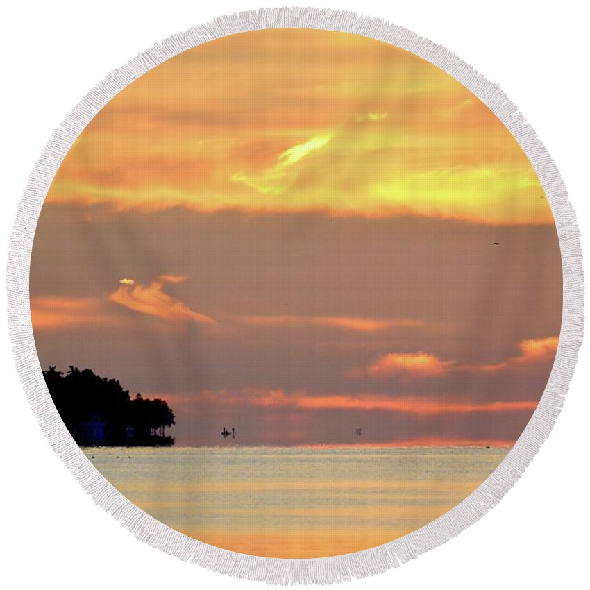 Abstract Round Beach Towel featuring the photograph 6.33.44 Am August 30-2016 by Lyle Crump
