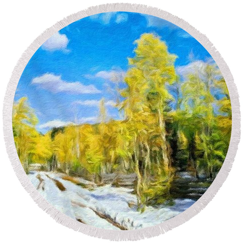 Landscape Round Beach Towel featuring the painting Landscape Paintings Canvas Prints Nature Art by World Map