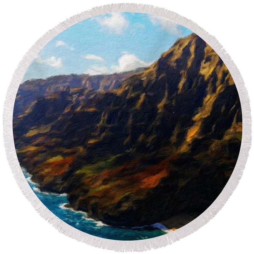 Landscape Round Beach Towel featuring the painting Nature Work Landscape by World Map
