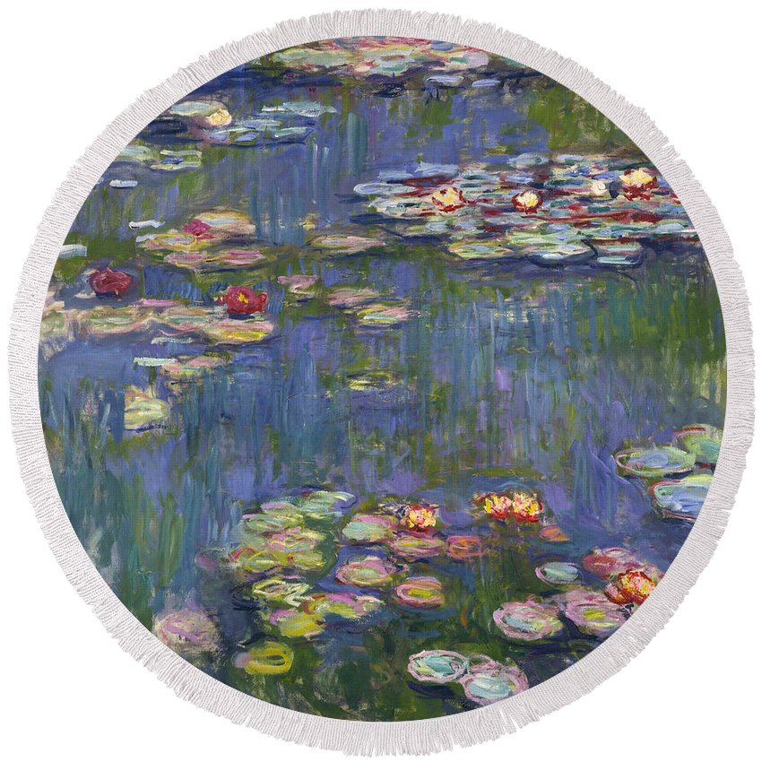 Claude Monet Round Beach Towel featuring the painting Water Lilies by Claude Monet