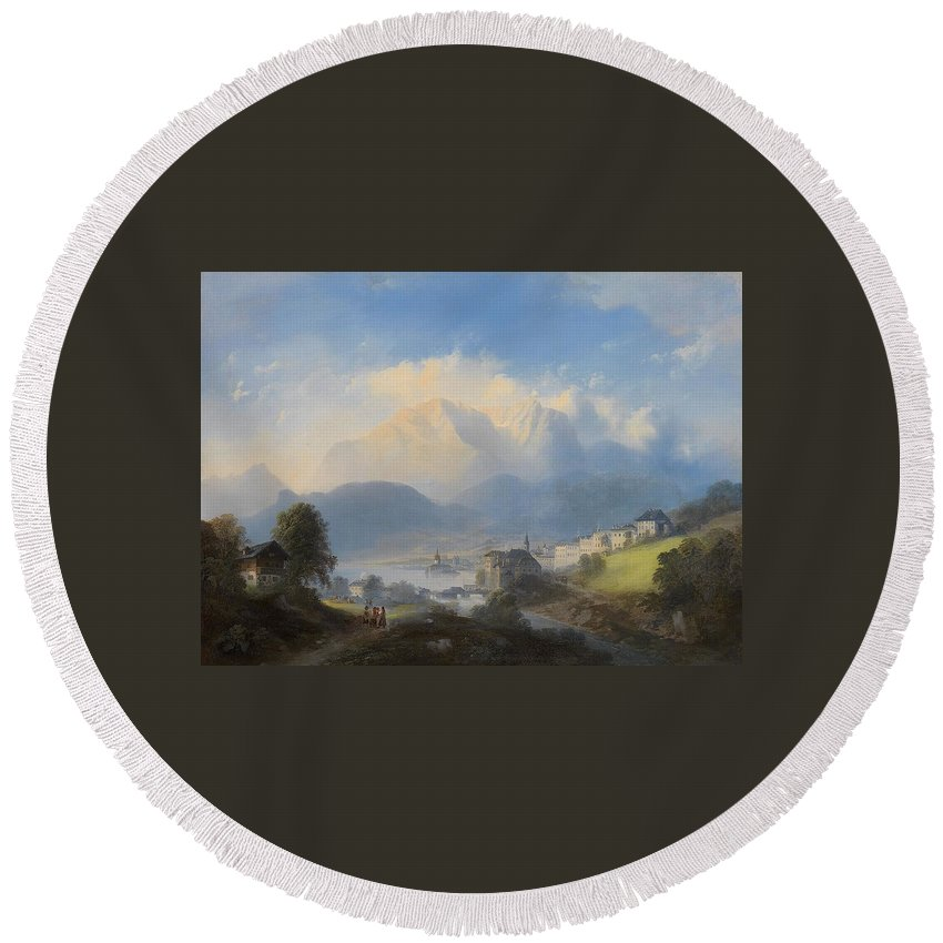 Manner Of Canaletto (venetian Round Beach Towel featuring the painting Landscape by MotionAge Designs