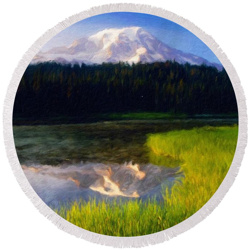 Landscape Round Beach Towel featuring the painting Nature Landscape Oil Painting On Canvas by World Map