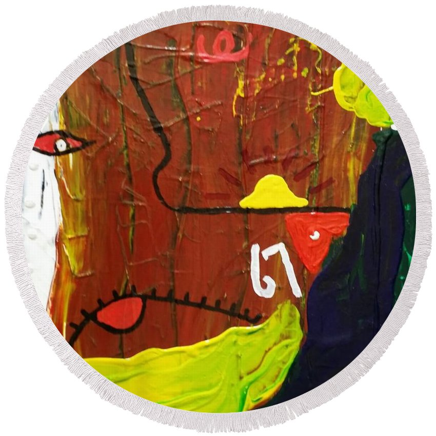 Abstract Round Beach Towel featuring the painting 67 by Peter Nervo